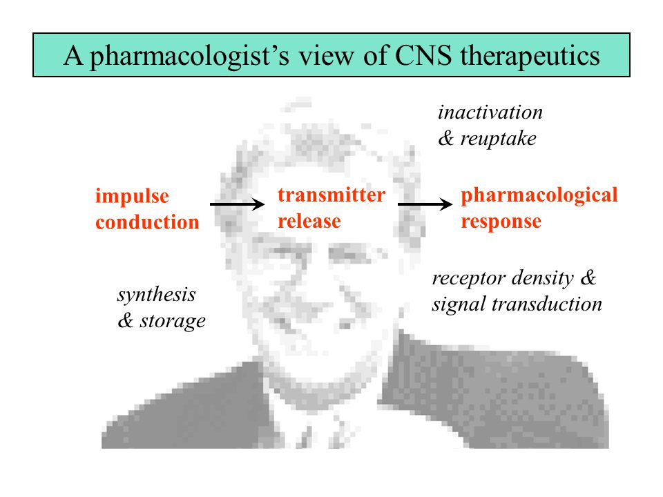 impulse conduction transmitter release pharmacological response A pharmacologist's view of CNS therapeutics synthesis & storage inactivation & reuptake receptor density & signal transduction