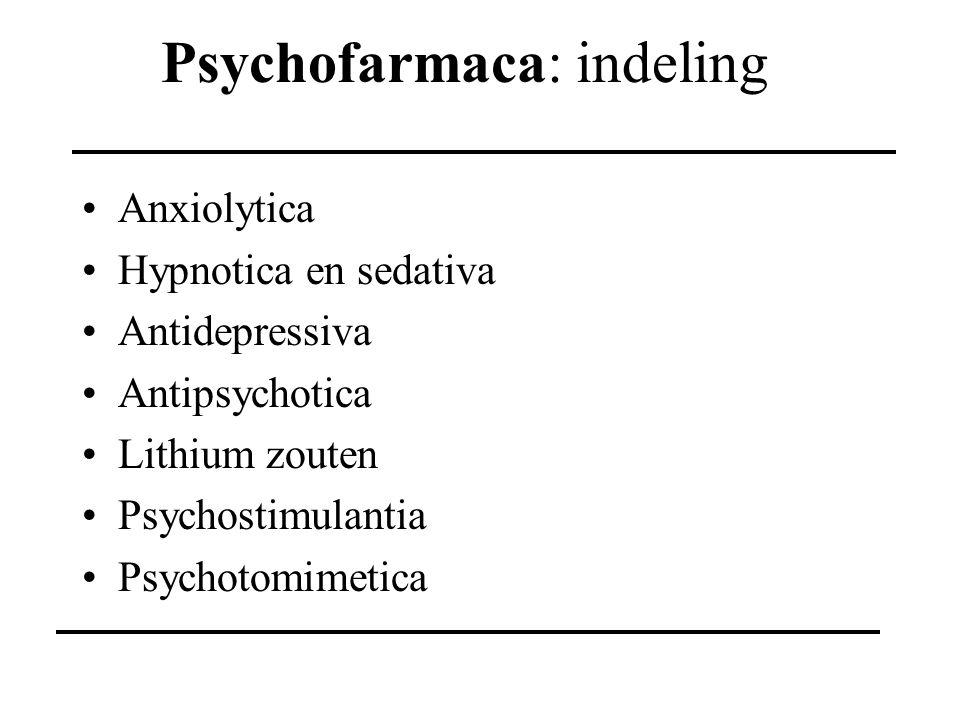 Psychofarmaca: indeling Anxiolytica Hypnotica en sedativa Antidepressiva Antipsychotica Lithium zouten Psychostimulantia Psychotomimetica