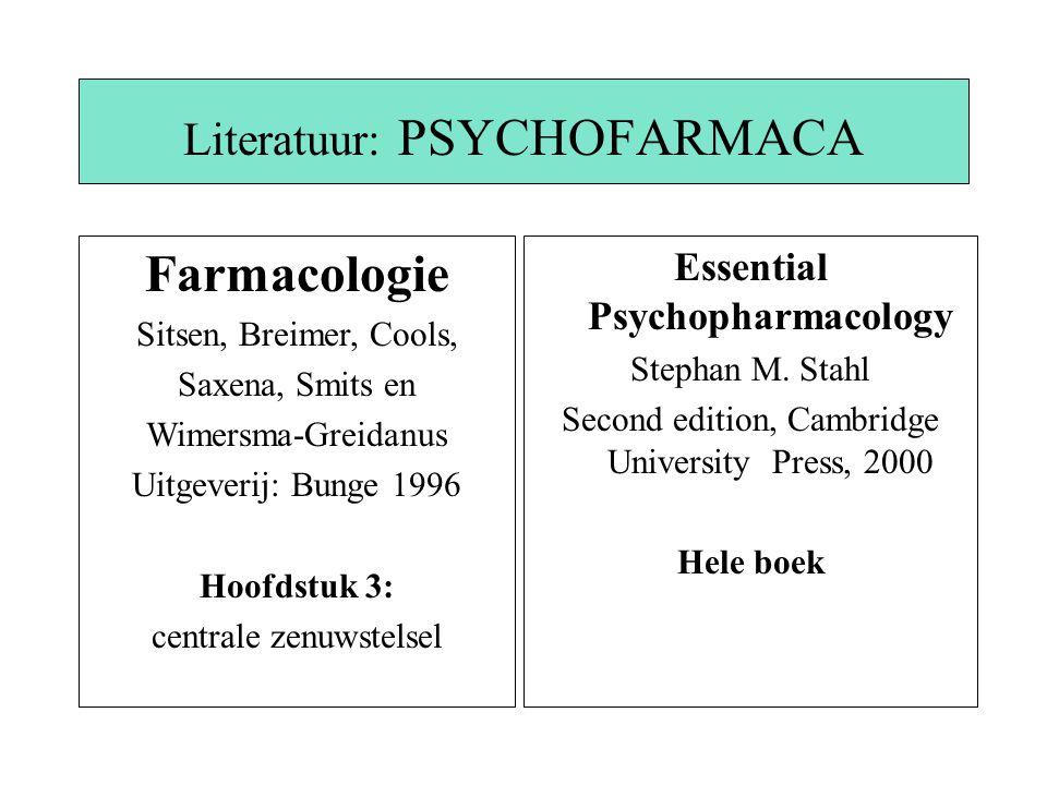 Literatuur: PSYCHOFARMACA Essential Psychopharmacology Stephan M. Stahl Second edition, Cambridge University Press, 2000 Hele boek Farmacologie Sitsen