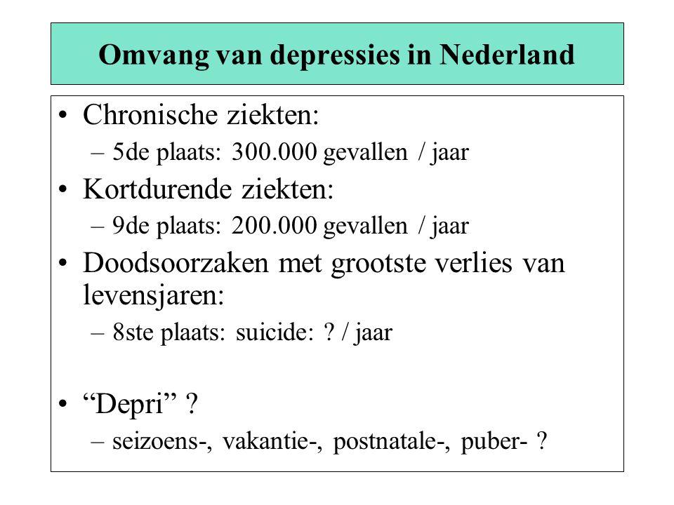 Omvang van depressies in Nederland Chronische ziekten: –5de plaats: 300.000 gevallen / jaar Kortdurende ziekten: –9de plaats: 200.000 gevallen / jaar Doodsoorzaken met grootste verlies van levensjaren: –8ste plaats: suicide: .