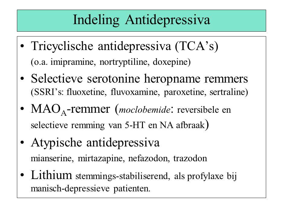 Indeling Antidepressiva Tricyclische antidepressiva (TCA's) (o.a. imipramine, nortryptiline, doxepine) Selectieve serotonine heropname remmers (SSRI's