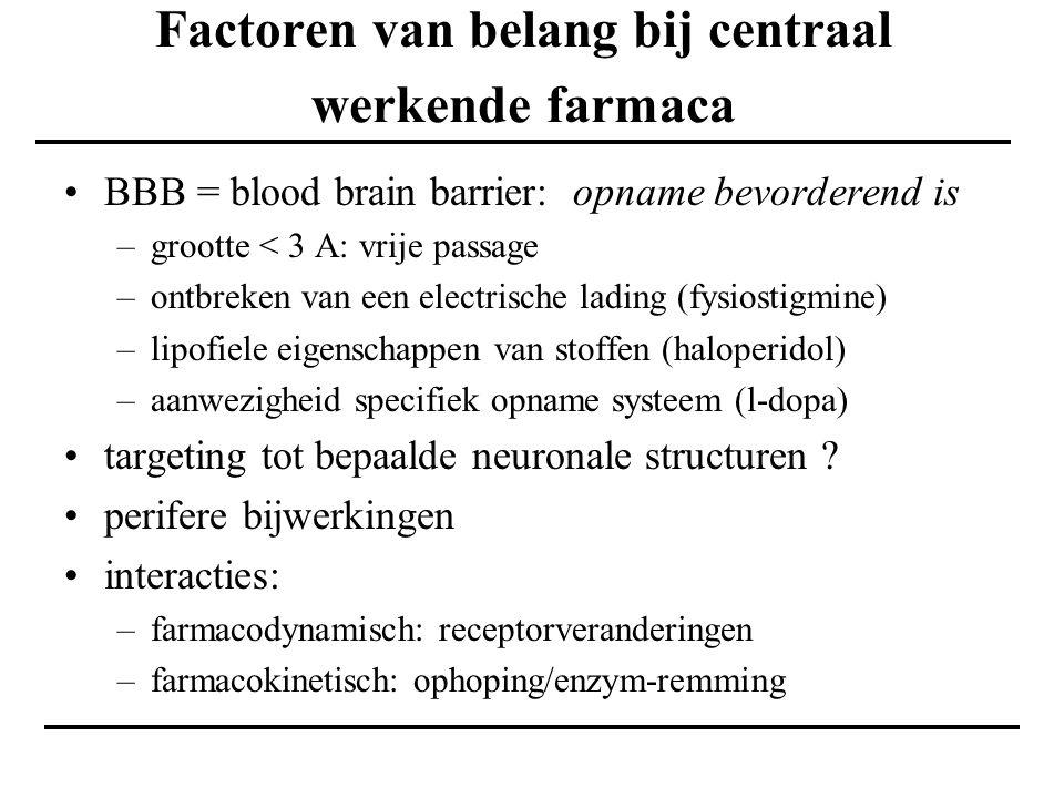 Factoren van belang bij centraal werkende farmaca BBB = blood brain barrier: opname bevorderend is –grootte < 3 A: vrije passage –ontbreken van een el