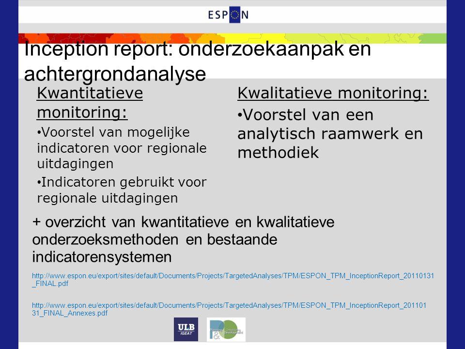 Inception report: onderzoekaanpak en achtergrondanalyse Kwantitatieve monitoring: Voorstel van mogelijke indicatoren voor regionale uitdagingen Indicatoren gebruikt voor regionale uitdagingen Kwalitatieve monitoring: Voorstel van een analytisch raamwerk en methodiek http://www.espon.eu/export/sites/default/Documents/Projects/TargetedAnalyses/TPM/ESPON_TPM_InceptionReport_20110131 _FINAL.pdf http://www.espon.eu/export/sites/default/Documents/Projects/TargetedAnalyses/TPM/ESPON_TPM_InceptionReport_201101 31_FINAL_Annexes.pdf + overzicht van kwantitatieve en kwalitatieve onderzoeksmethoden en bestaande indicatorensystemen