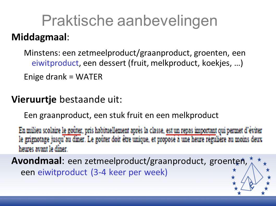 Middagmaal: Minstens: een zetmeelproduct/graanproduct, groenten, een eiwitproduct, een dessert (fruit, melkproduct, koekjes, …) Enige drank = WATER Vi