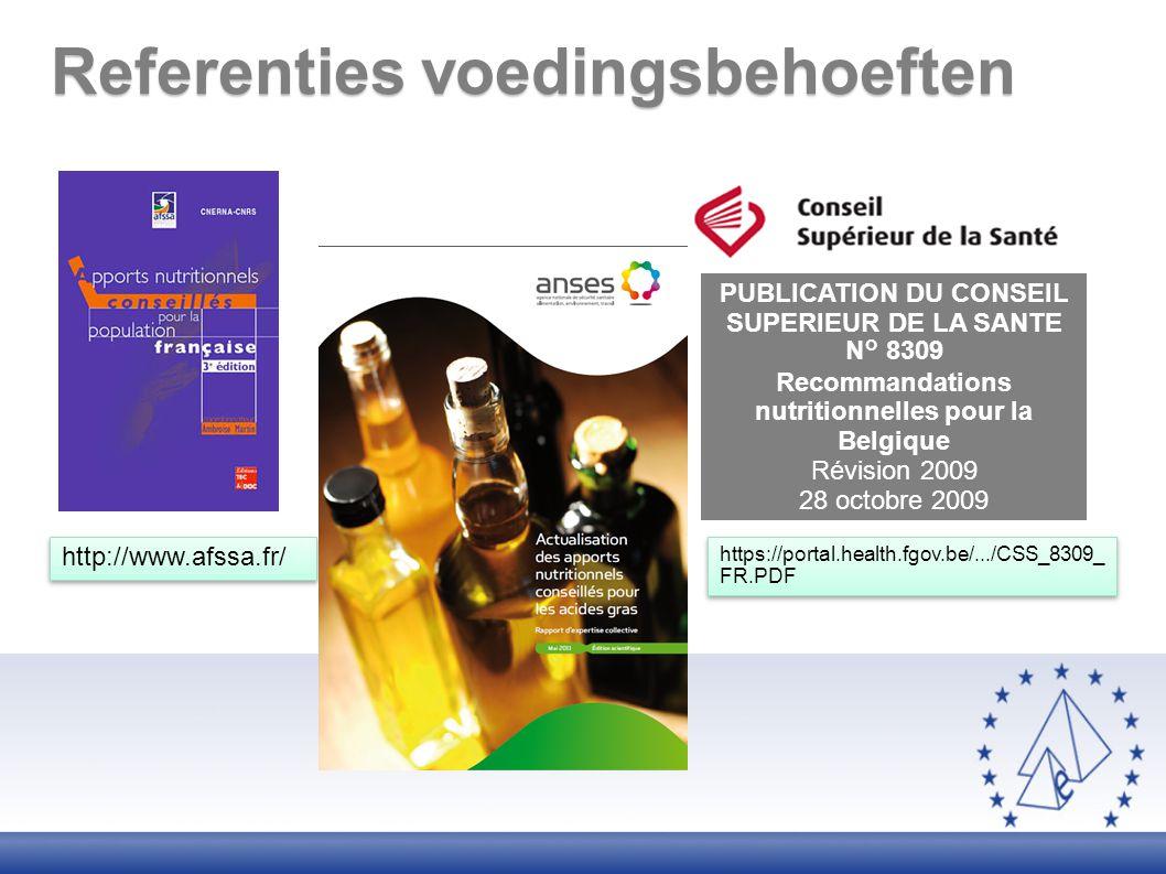 Referenties voedingsbehoeften PUBLICATION DU CONSEIL SUPERIEUR DE LA SANTE N° 8309 Recommandations nutritionnelles pour la Belgique Révision 2009 28 o