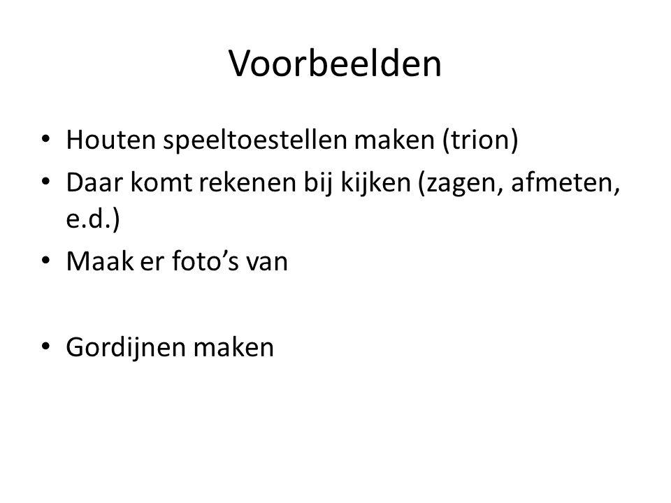 Voorbeelden Houten speeltoestellen maken (trion) Daar komt rekenen bij kijken (zagen, afmeten, e.d.) Maak er foto's van Gordijnen maken