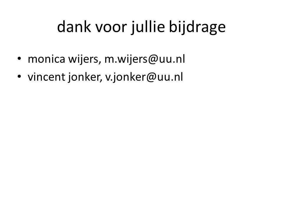 dank voor jullie bijdrage monica wijers, m.wijers@uu.nl vincent jonker, v.jonker@uu.nl