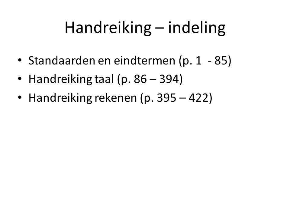 Handreiking – indeling Standaarden en eindtermen (p.