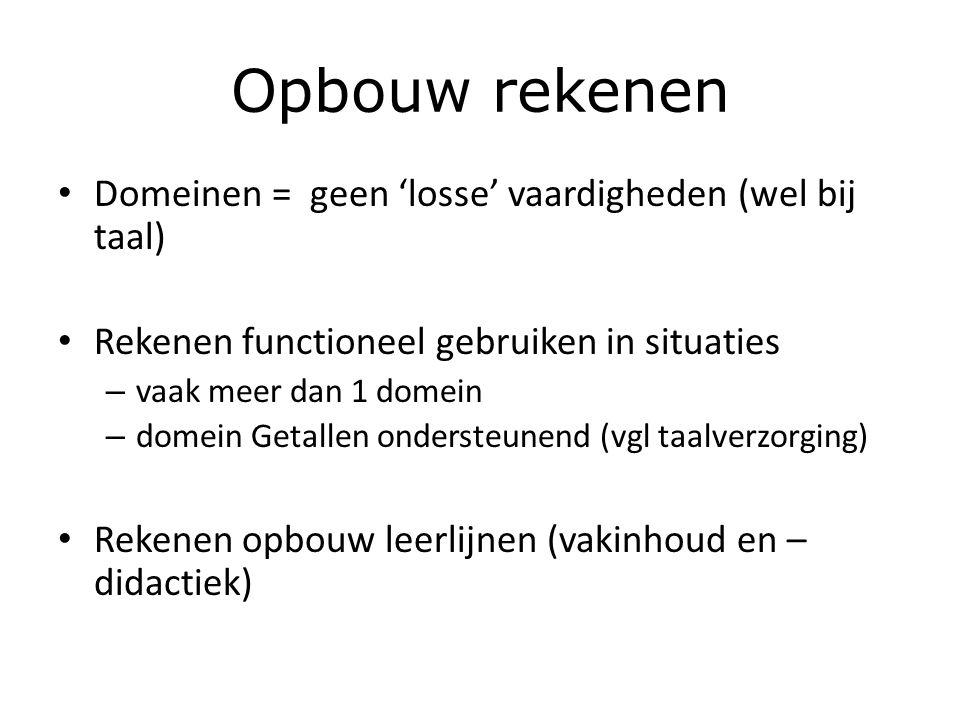 Opbouw rekenen Domeinen = geen 'losse' vaardigheden (wel bij taal) Rekenen functioneel gebruiken in situaties – vaak meer dan 1 domein – domein Getallen ondersteunend (vgl taalverzorging) Rekenen opbouw leerlijnen (vakinhoud en – didactiek)
