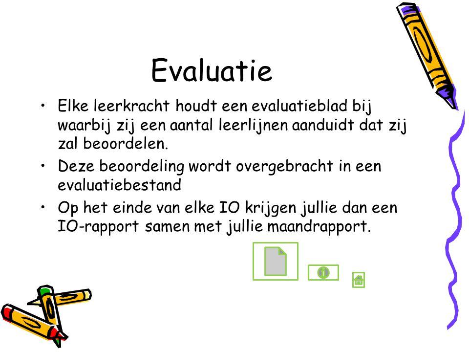 Evaluatie Elke leerkracht houdt een evaluatieblad bij waarbij zij een aantal leerlijnen aanduidt dat zij zal beoordelen. Deze beoordeling wordt overge