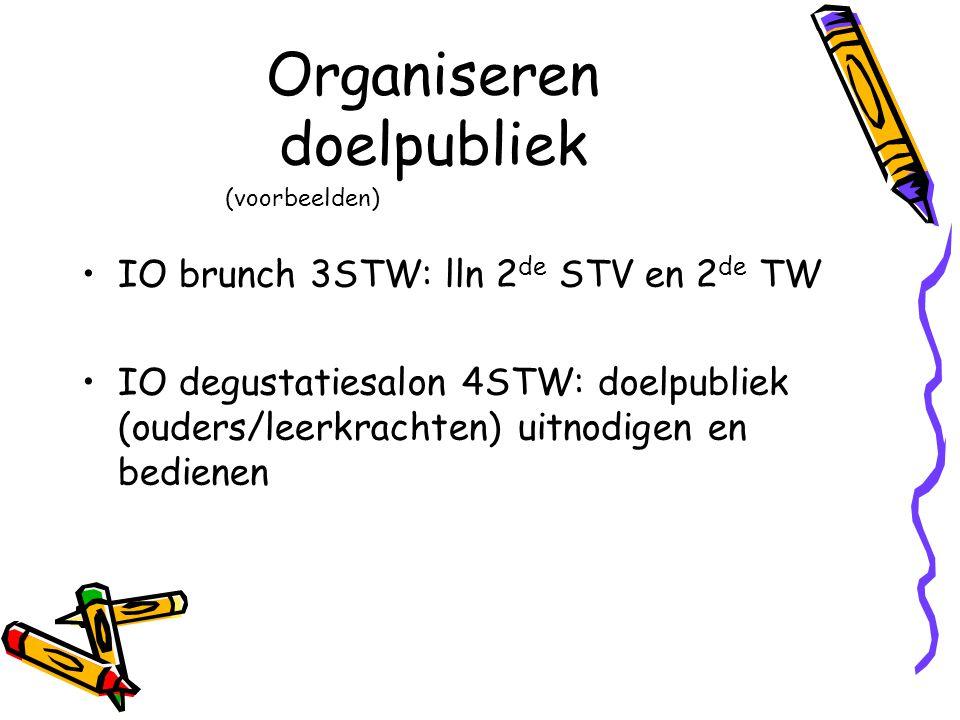 Organiseren doelpubliek IO brunch 3STW: lln 2 de STV en 2 de TW IO degustatiesalon 4STW: doelpubliek (ouders/leerkrachten) uitnodigen en bedienen (voo