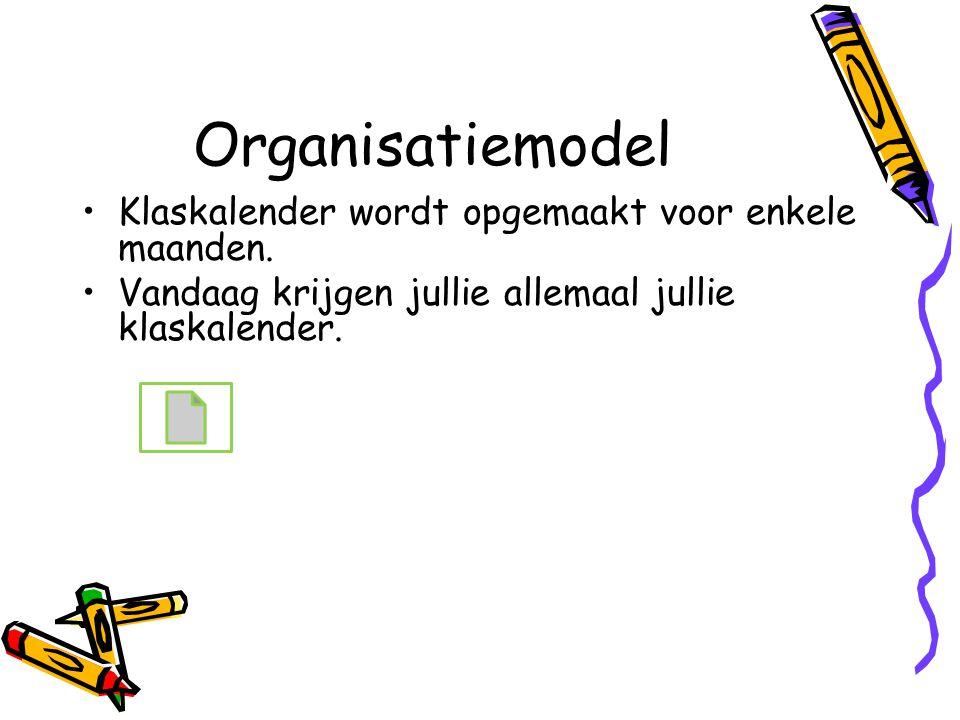 Organisatiemodel Klaskalender wordt opgemaakt voor enkele maanden. Vandaag krijgen jullie allemaal jullie klaskalender.
