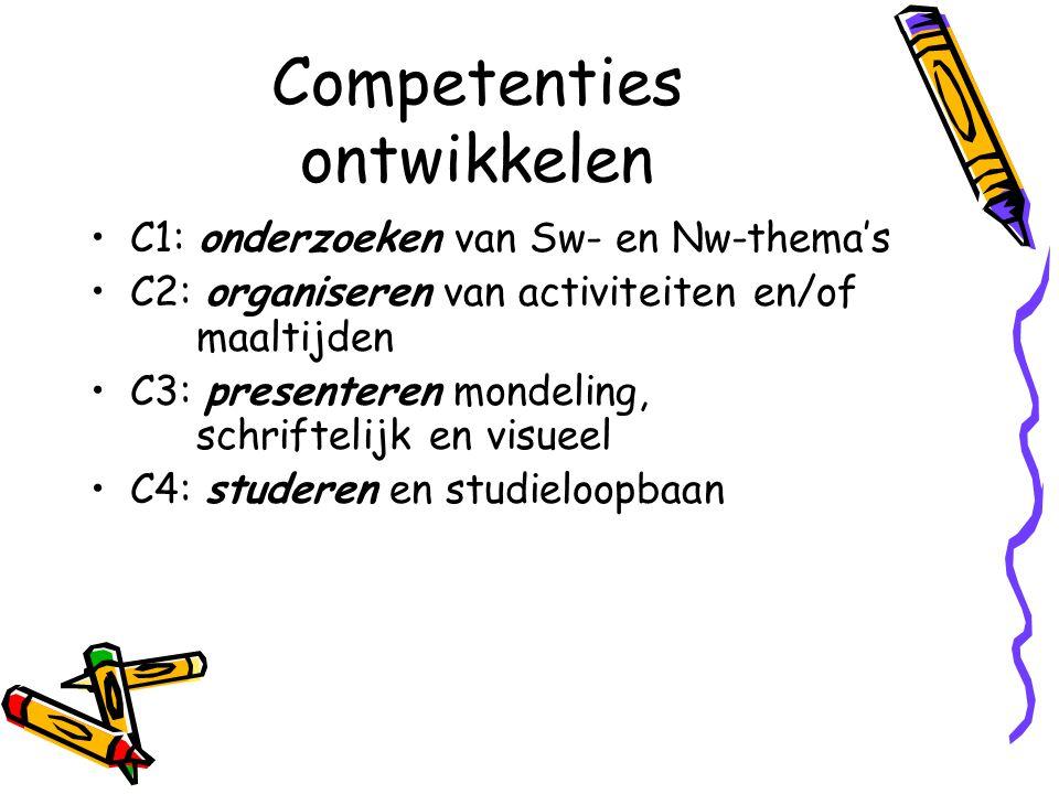 Competenties ontwikkelen C1: onderzoeken van Sw- en Nw-thema's C2: organiseren van activiteiten en/of maaltijden C3: presenteren mondeling, schrifteli