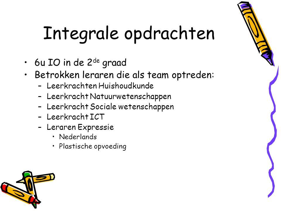 Integrale opdrachten 6u IO in de 2 de graad Betrokken leraren die als team optreden: –Leerkrachten Huishoudkunde –Leerkracht Natuurwetenschappen –Leer