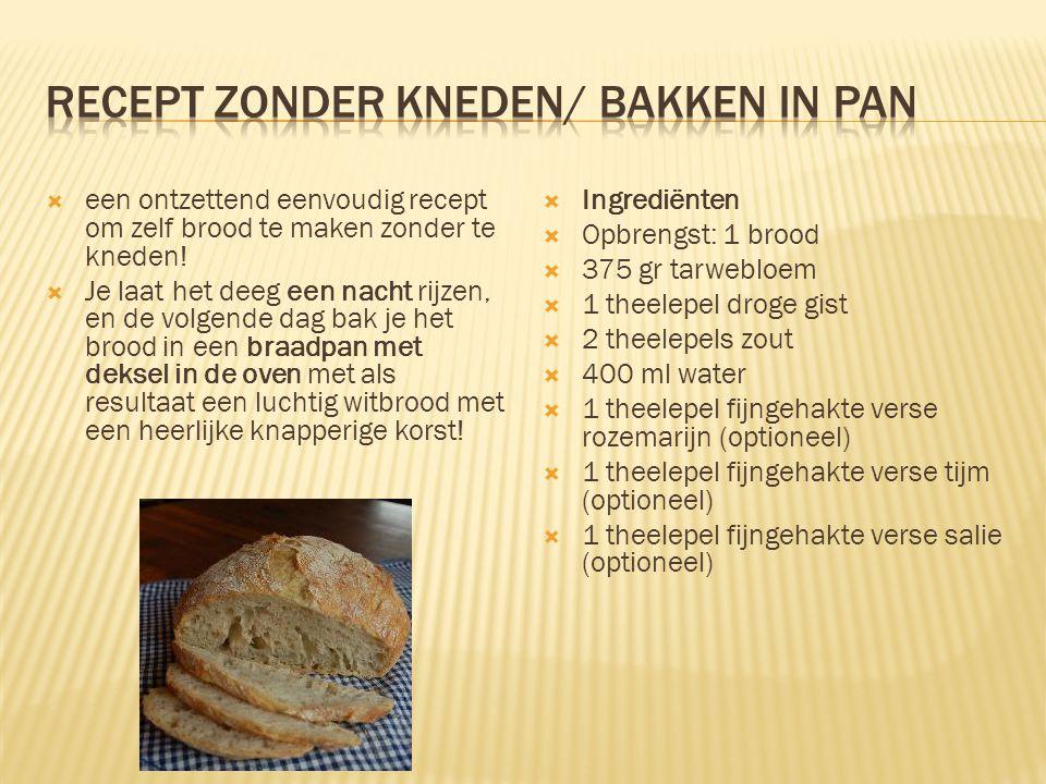  een ontzettend eenvoudig recept om zelf brood te maken zonder te kneden!  Je laat het deeg een nacht rijzen, en de volgende dag bak je het brood in