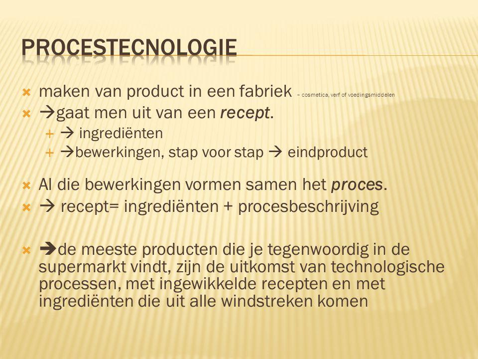  maken van product in een fabriek – cosmetica, verf of voedingsmiddelen   gaat men uit van een recept.   ingrediënten   bewerkingen, stap voor