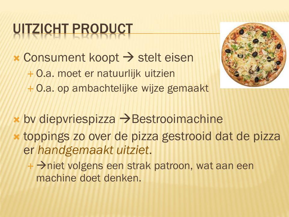  Consument koopt  stelt eisen  O.a. moet er natuurlijk uitzien  O.a. op ambachtelijke wijze gemaakt  bv diepvriespizza  Bestrooimachine  toppin
