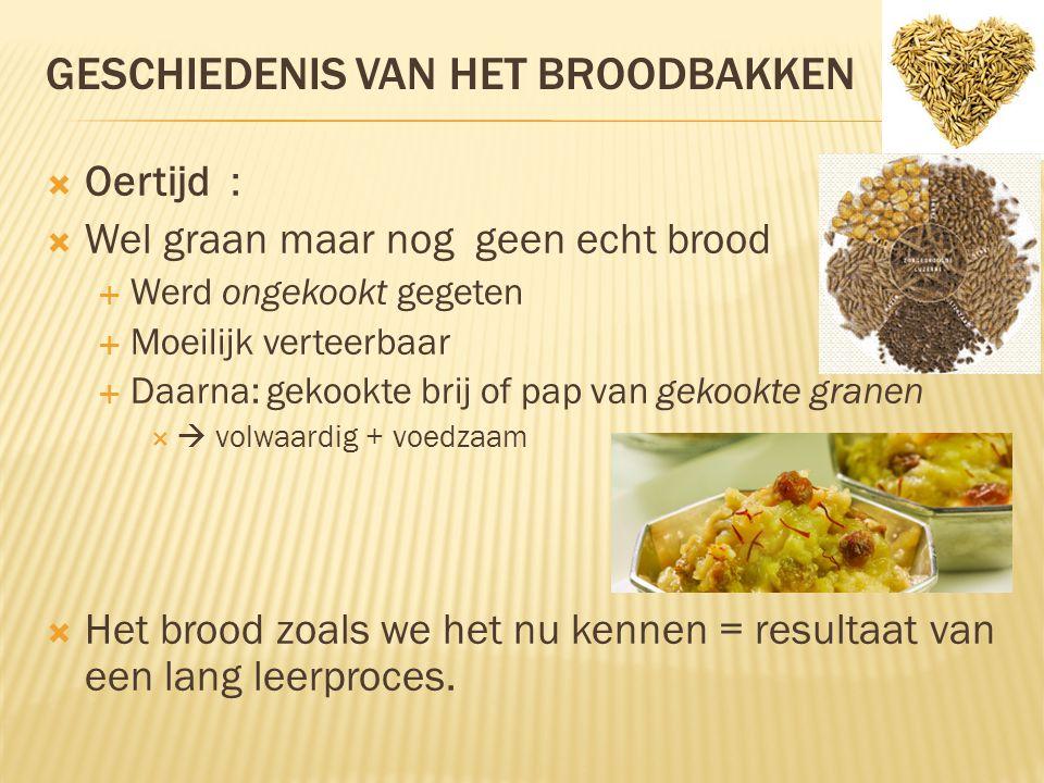 GESCHIEDENIS VAN HET BROODBAKKEN  Oertijd :  Wel graan maar nog geen echt brood  Werd ongekookt gegeten  Moeilijk verteerbaar  Daarna: gekookte b