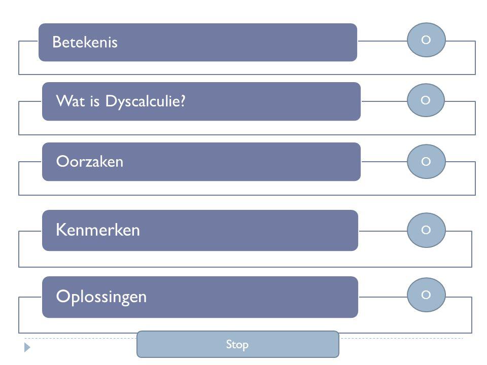 BetekenisWat is Dyscalculie?Oorzaken KenmerkenOplossingen O O O O O Stop