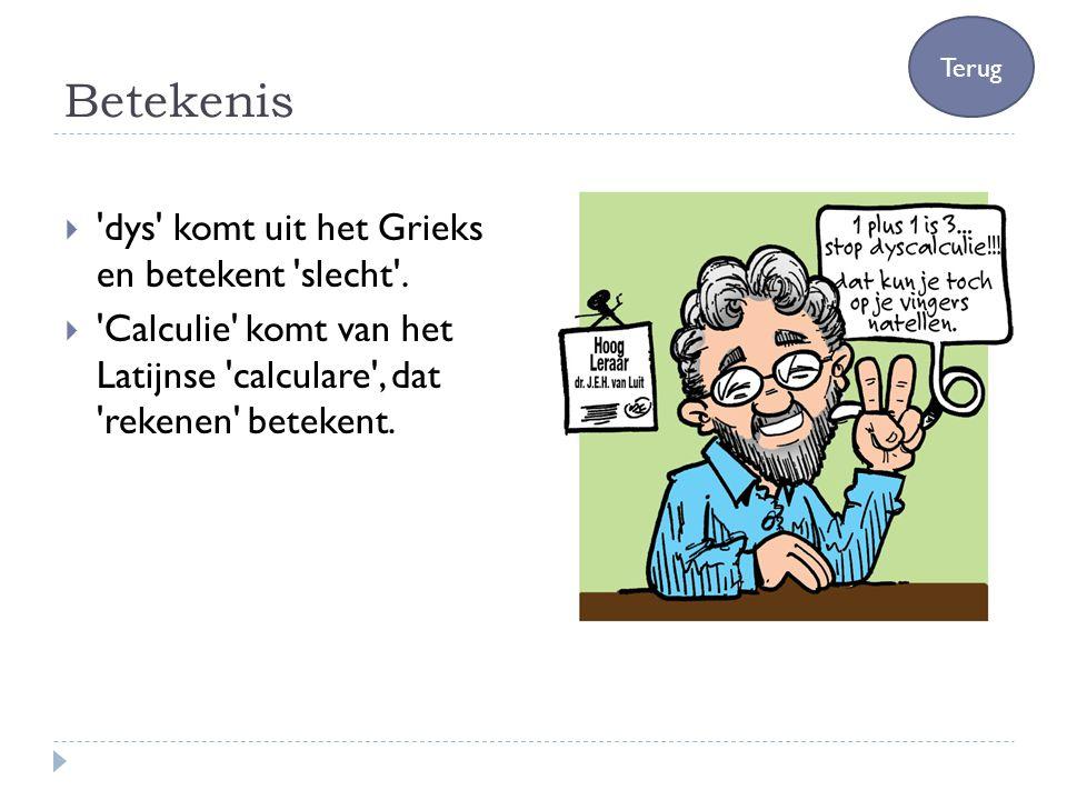 Betekenis  'dys' komt uit het Grieks en betekent 'slecht'.  'Calculie' komt van het Latijnse 'calculare', dat 'rekenen' betekent. Terug