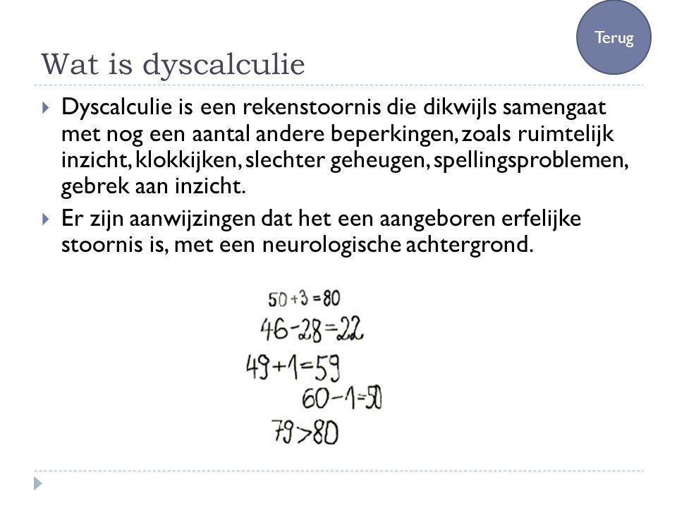 Wat is dyscalculie  Dyscalculie is een rekenstoornis die dikwijls samengaat met nog een aantal andere beperkingen, zoals ruimtelijk inzicht, klokkijk