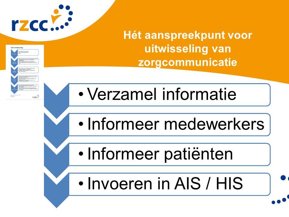 Hét aanspreekpunt voor uitwisseling van zorgcommunicatie helpdesk@rzcc.nl