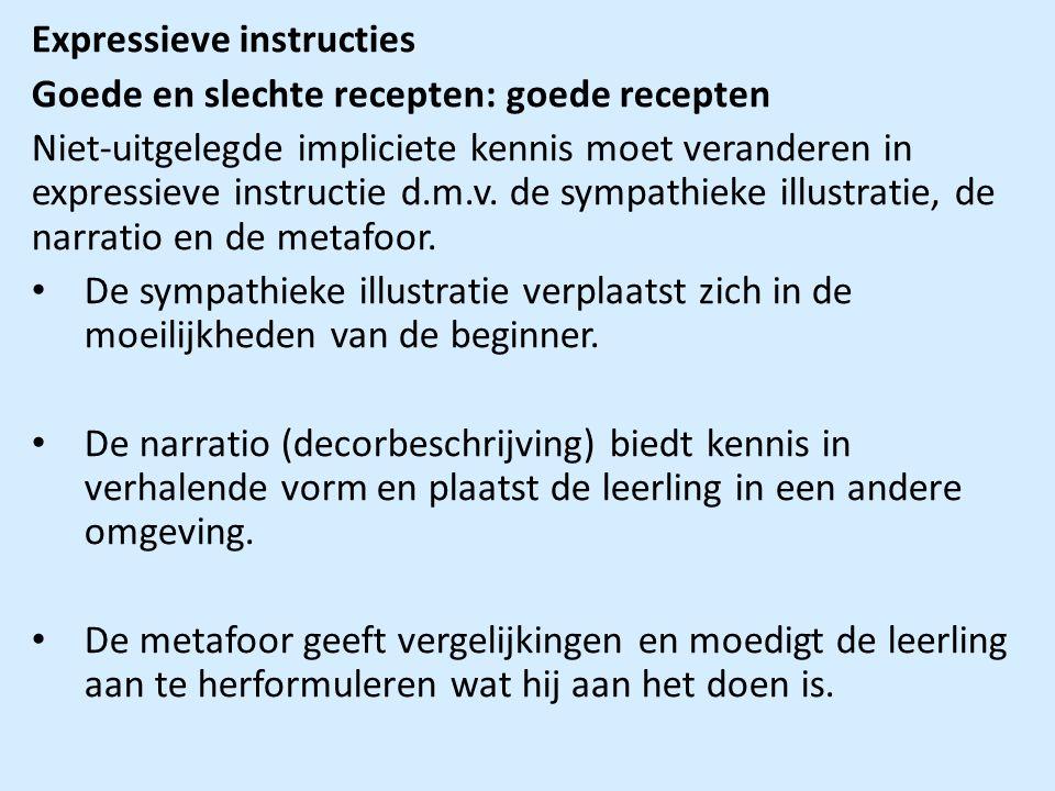 Expressieve instructies Goede en slechte recepten: goede recepten Niet-uitgelegde impliciete kennis moet veranderen in expressieve instructie d.m.v.