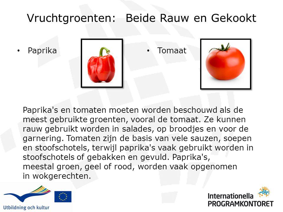 Vruchtgroenten: Beide Rauw en Gekookt Paprika Tomaat Paprika's en tomaten moeten worden beschouwd als de meest gebruikte groenten, vooral de tomaat. Z