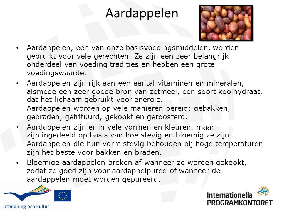 Aardappelen Aardappelen, een van onze basisvoedingsmiddelen, worden gebruikt voor vele gerechten. Ze zijn een zeer belangrijk onderdeel van voeding tr