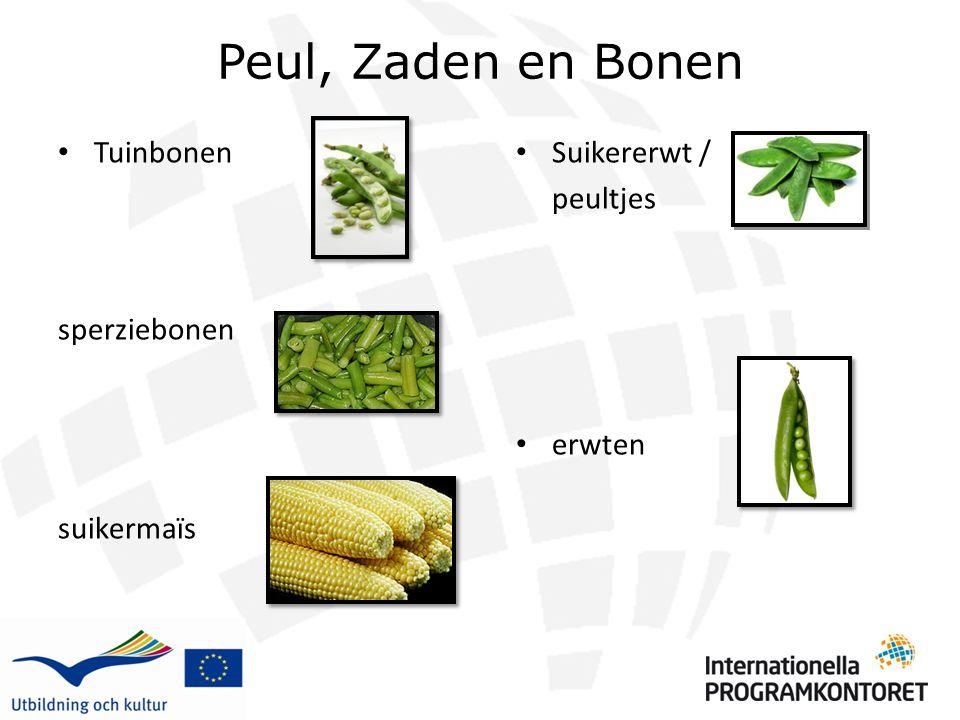 Peul, Zaden en Bonen Tuinbonen sperziebonen suikermaïs Suikererwt / peultjes erwten