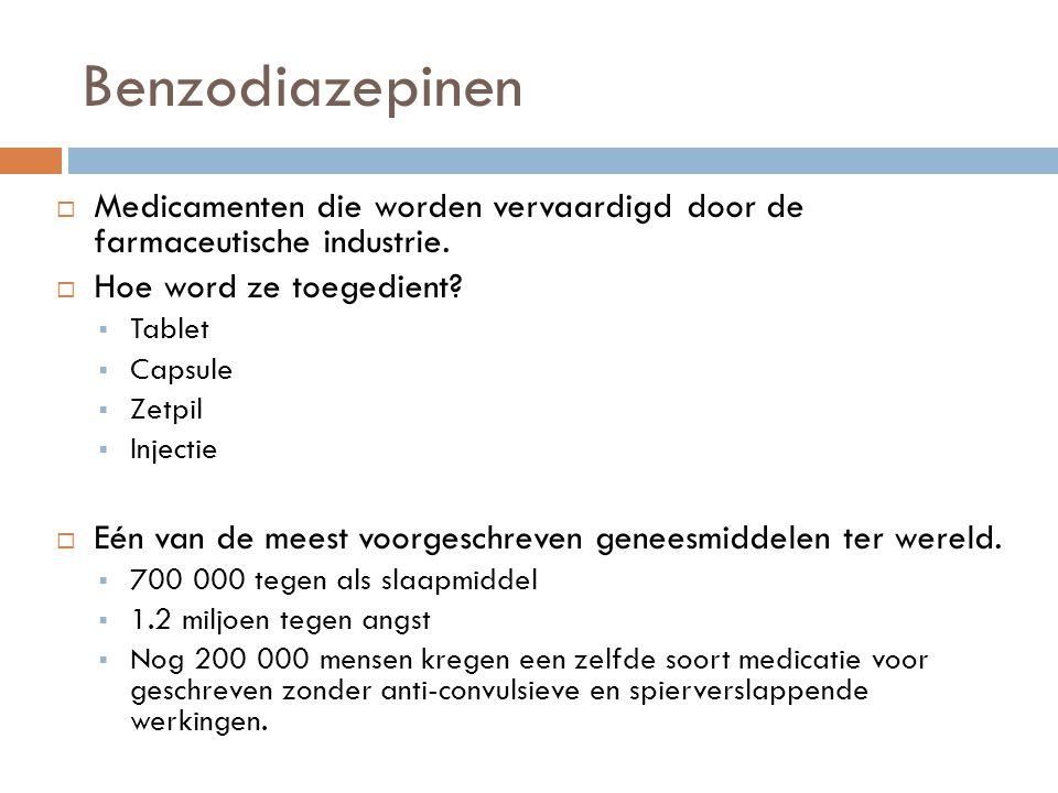 Benzodiazepinen  Medicamenten die worden vervaardigd door de farmaceutische industrie.  Hoe word ze toegedient?  Tablet  Capsule  Zetpil  Inject
