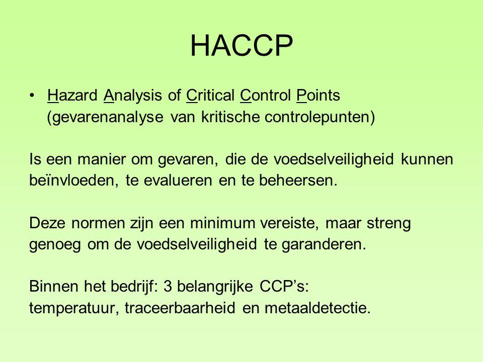 HACCP Hazard Analysis of Critical Control Points (gevarenanalyse van kritische controlepunten) Is een manier om gevaren, die de voedselveiligheid kunnen beïnvloeden, te evalueren en te beheersen.