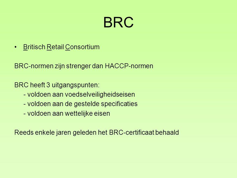 BRC Britisch Retail Consortium BRC-normen zijn strenger dan HACCP-normen BRC heeft 3 uitgangspunten: - voldoen aan voedselveiligheidseisen - voldoen aan de gestelde specificaties - voldoen aan wettelijke eisen Reeds enkele jaren geleden het BRC-certificaat behaald