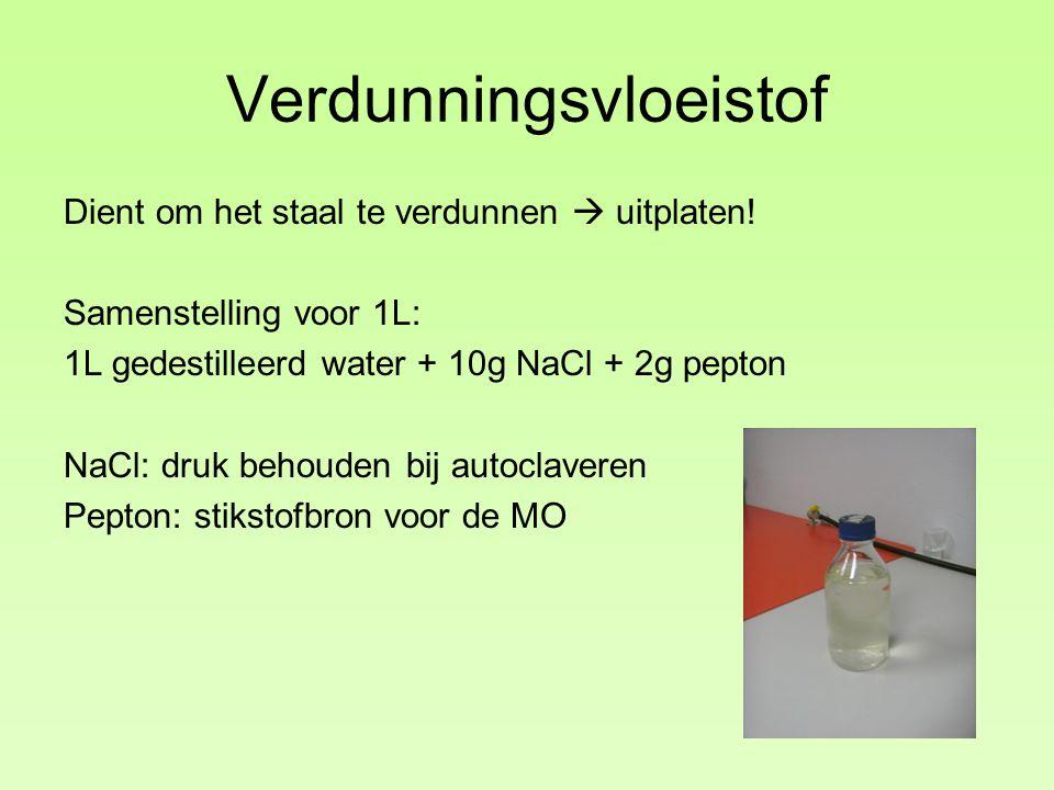 Verdunningsvloeistof Dient om het staal te verdunnen  uitplaten! Samenstelling voor 1L: 1L gedestilleerd water + 10g NaCl + 2g pepton NaCl: druk beho