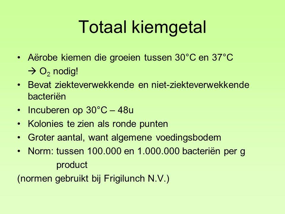 Totaal kiemgetal Aërobe kiemen die groeien tussen 30°C en 37°C  O 2 nodig.