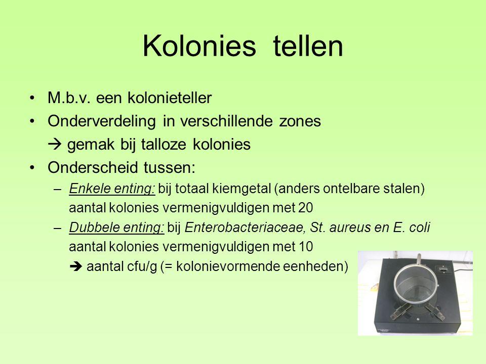 Kolonies tellen M.b.v. een kolonieteller Onderverdeling in verschillende zones  gemak bij talloze kolonies Onderscheid tussen: –Enkele enting: bij to
