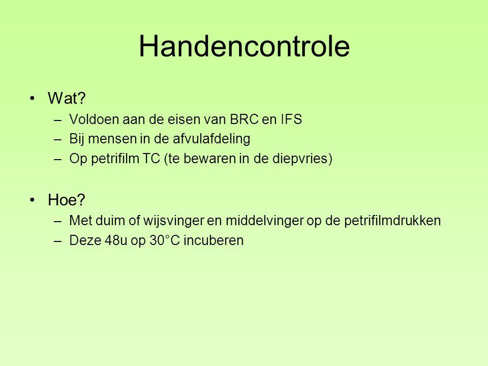 Handencontrole Wat? –Voldoen aan de eisen van BRC en IFS –Bij mensen in de afvulafdeling –Op petrifilm TC (te bewaren in de diepvries) Hoe? –Met duim