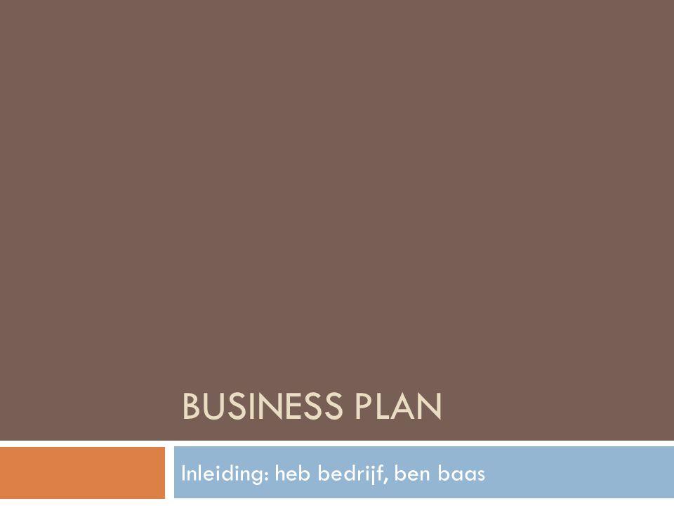 BUSINESS PLAN Inleiding: heb bedrijf, ben baas