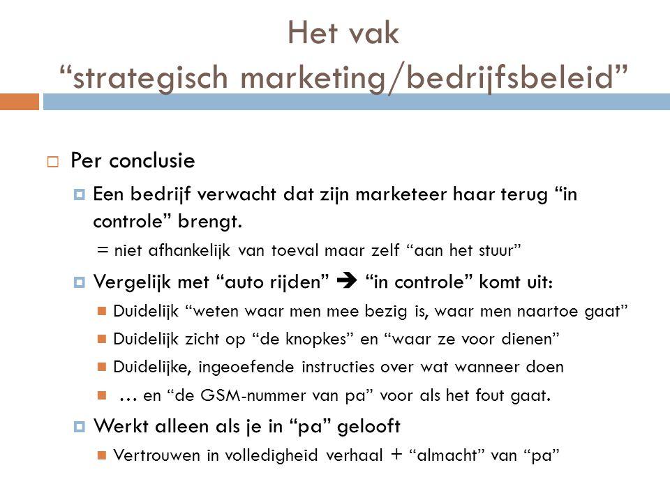 Het vak strategisch marketing/bedrijfsbeleid  Per conclusie  Een bedrijf verwacht dat zijn marketeer haar terug in controle brengt.