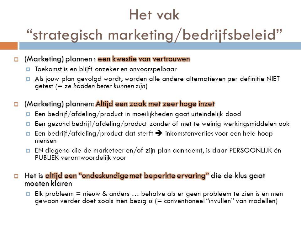 Het vak strategisch marketing/bedrijfsbeleid
