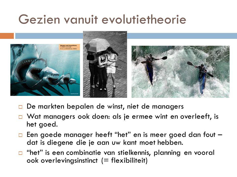 Gezien vanuit evolutietheorie  De markten bepalen de winst, niet de managers  Wat managers ook doen: als je ermee wint en overleeft, is het goed.