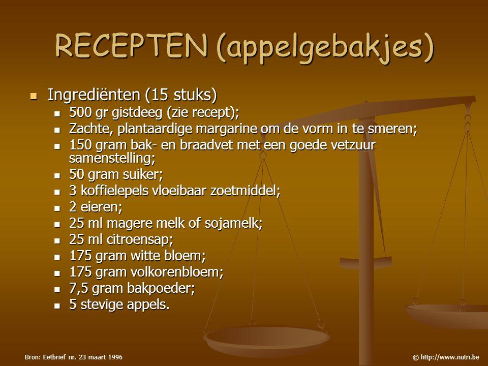 RECEPTEN (appelgebakjes) Ingrediënten (15 stuks) Ingrediënten (15 stuks) 500 gr gistdeeg (zie recept); 500 gr gistdeeg (zie recept); Zachte, plantaard