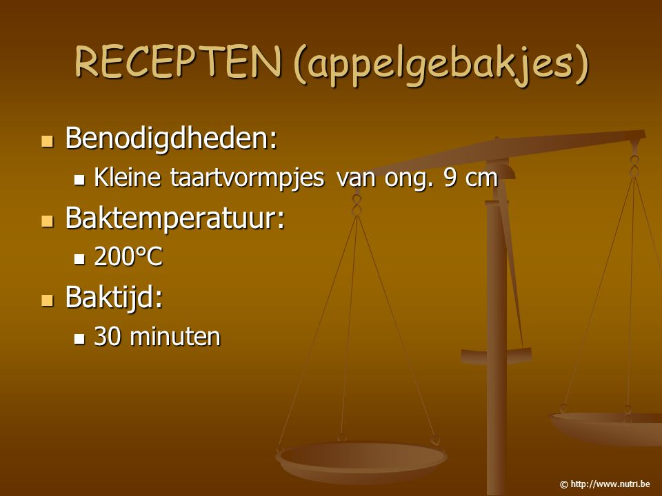 RECEPTEN (appelgebakjes) Benodigdheden: Benodigdheden: Kleine taartvormpjes van ong. 9 cm Kleine taartvormpjes van ong. 9 cm Baktemperatuur: Baktemper
