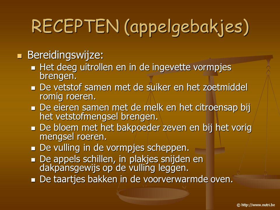 RECEPTEN (appelgebakjes) Bereidingswijze: Bereidingswijze: Het deeg uitrollen en in de ingevette vormpjes brengen. Het deeg uitrollen en in de ingevet