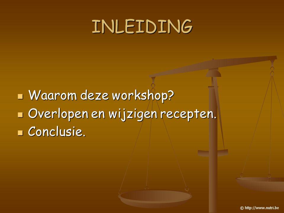 INLEIDING Waarom deze workshop? Waarom deze workshop? Overlopen en wijzigen recepten. Overlopen en wijzigen recepten. Conclusie. Conclusie. © http://w