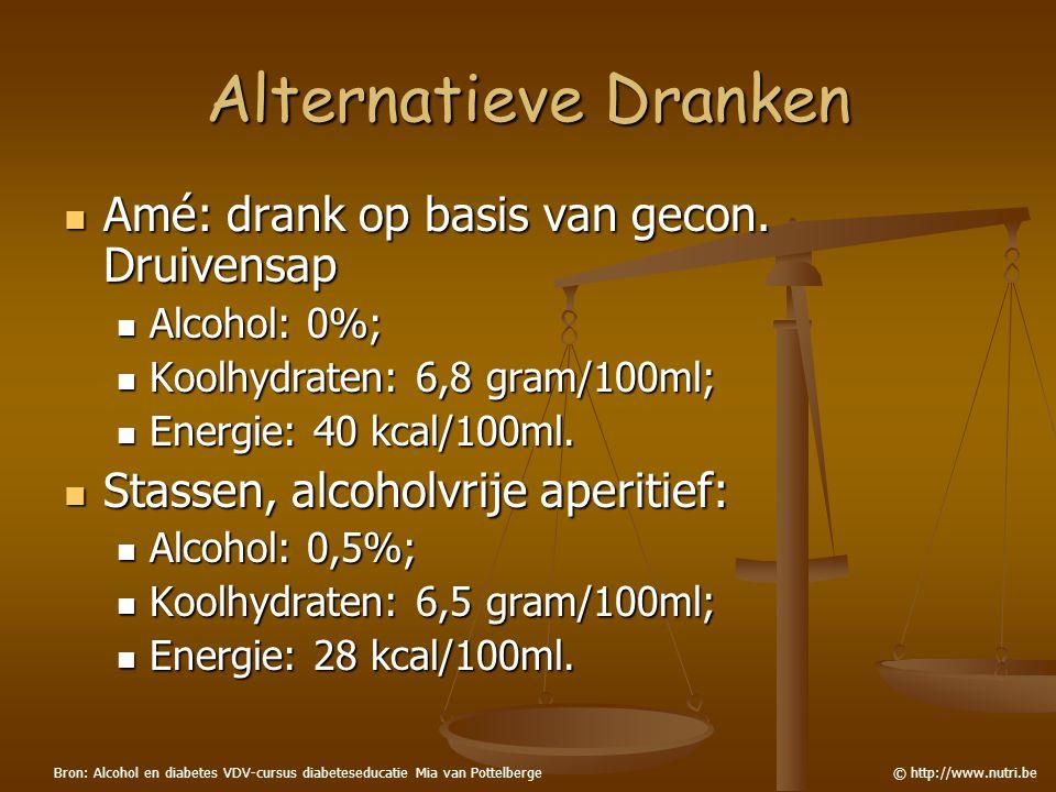 Alternatieve Dranken Amé: drank op basis van gecon. Druivensap Amé: drank op basis van gecon. Druivensap Alcohol: 0%; Alcohol: 0%; Koolhydraten: 6,8 g