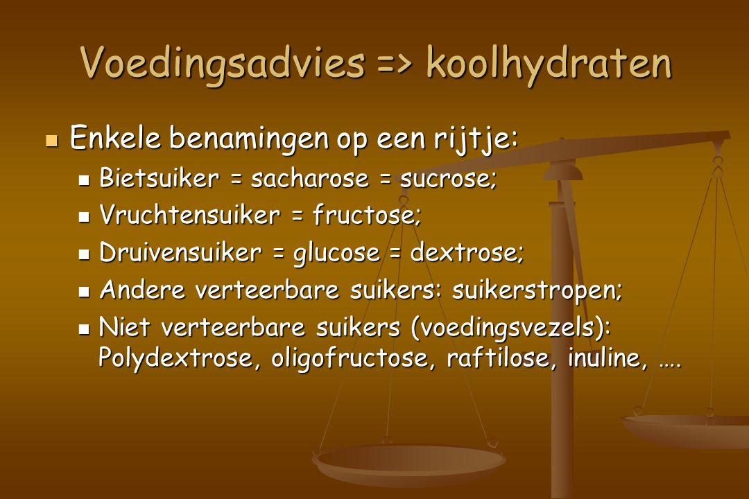 Voedingsadvies => koolhydraten Enkele benamingen op een rijtje: Enkele benamingen op een rijtje: Bietsuiker = sacharose = sucrose; Bietsuiker = sacharose = sucrose; Vruchtensuiker = fructose; Vruchtensuiker = fructose; Druivensuiker = glucose = dextrose; Druivensuiker = glucose = dextrose; Andere verteerbare suikers: suikerstropen; Andere verteerbare suikers: suikerstropen; Niet verteerbare suikers (voedingsvezels): Polydextrose, oligofructose, raftilose, inuline, ….