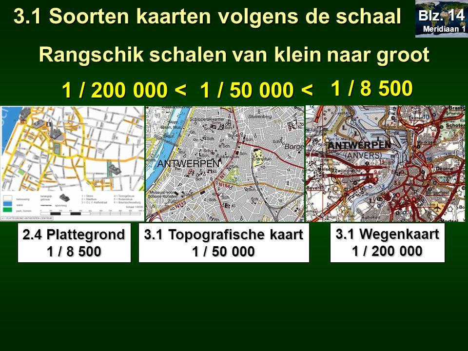  Tot 1 / 10 000 = plattegrond -Gebruikt door architect, als toeristisch stadsplan,… 3.1 Soorten kaarten volgens de schaal Meridiaan 1 Meridiaan 1 Blz.
