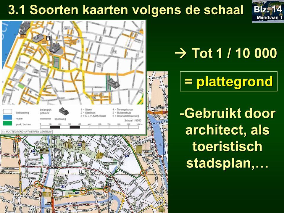  van 1 / 10 000 tot 1 / 100 000 = topografische kaart -Gebruikt door wandelaars, fietsers,… 3.1 Soorten kaarten volgens de schaal Meridiaan 1 Meridiaan 1 Blz.