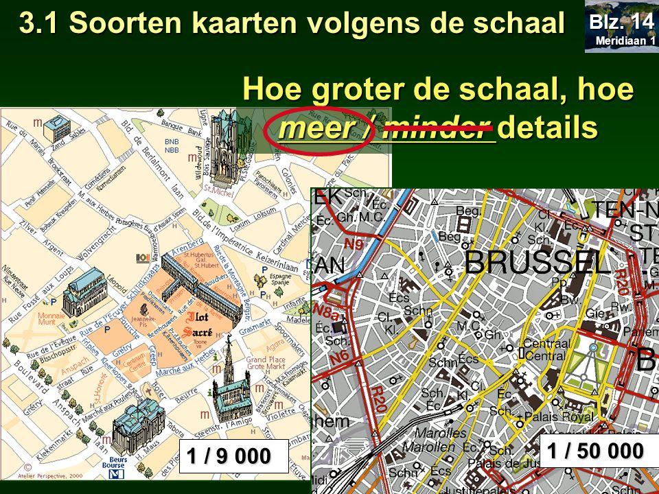 3.1 Soorten kaarten volgens de schaal 1 / 50 000  straatnamen, gebouwen, losse beplanting 1 / 9 000 Twee landschapselementen wel op plattegrond maar niet op topografische kaart: Meridiaan 1 Meridiaan 1 Blz.